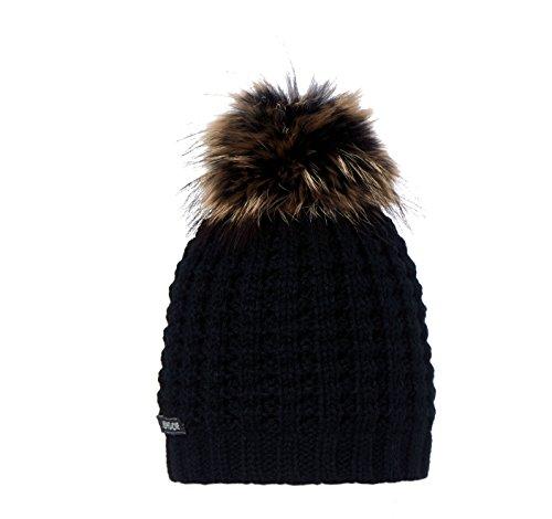 Tête fait Bonnet en tricot pour femme Noir - Noir