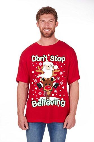 Regalo Navidad Novedad Camisetas Hombre Divertido Navidad Algodón Estampado Camiseta Nuevo Tallas Grandes - CREER, Medium