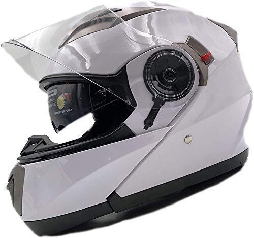 Nat Hut Casco Moto Modular ECE Homologado Casco de Moto Scooter para Mujer Hombre Adultos con Doble Visera (XL 61-62cm, Blanco)