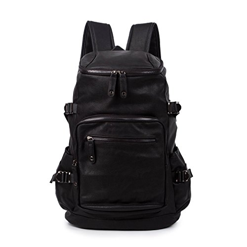 baigio-unisex-pu-leather-backpack-vintage-school-bag-rucksack-casual-satchel-black