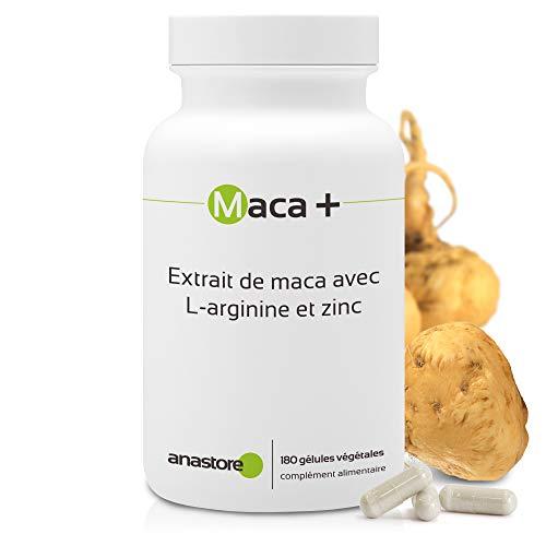 MACA + ARGININA Y ZINC * 461 mg / 180 cápsulas * Extracto de maca titulado al 0.6{208837dadbb53a584a95af49a9368f1d0afc4627e706325e8ebf0928c5709393} en macaeno y macamida, L-arginina y zinc * Energia, Vitalidad