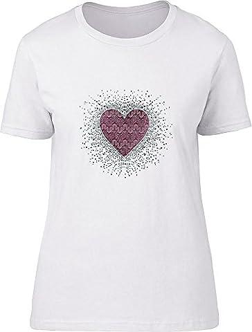 Strass Herz Damen T-Shirt Gr. XL 30 cm/ 36 cm, weiß (Weiß Damen Strass-herz-t-shirt)