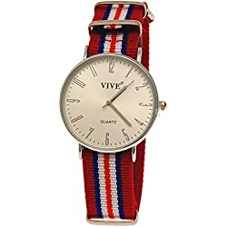 29Pure Time Unisex Textile Clock, Red, White, Silver, Extremely Flat with Watch Box