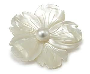 Pearl Dreams Damen-Broschen 925 Sterling Silber Süßwasser Zuchtperlen Brosche aus Perlmutt in Blumenform 10-11mm F75.03856