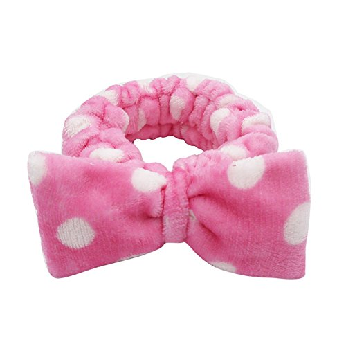 CAOLATOR Bogen Stirnband Make-up kosmetische Dusche elastisches Haar-Band Stirnband Bowknot Stirnband Haarband Haarschmuck Haar Wrap für Make-up Gesichtsreinigung Gesichtspflege (Rot) (Haar-bänder, Bögen)