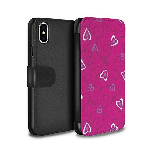 Stuff4 Coque/Etui/Housse Cuir PU Case/Cover pour Apple iPhone X/10 / Bleu/Turquoise Design / Coeur Vigne Motif Collection Rose/Violet