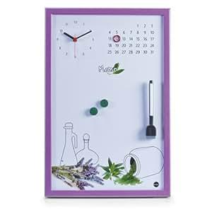 Zeller 11547 tableau m mo de cuisine avec horloge lilas 45 for Tableau memo cuisine