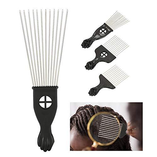 Afro-Kamm, Gabel-Kamm 4 in 1 Friseur-Kamm-Friseur-Haar-Styling-Werkzeug Antistatischer breiter Zahn-Kamm für Haar-sterbendes aufrichtendes Winden(4Pcs) (Metall-styling-kamm)
