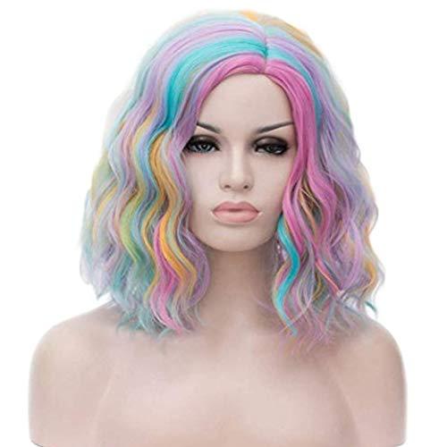 Pink Kostüm Perücken Curly - Rainbow WIG Short Curly Bob Wellige Haare Perücken Bunte Cosplay-Party-Kostüm Perücken Volle Hitzebeständige Synthetische Perücken Mit Kappe (40Cm),Pink