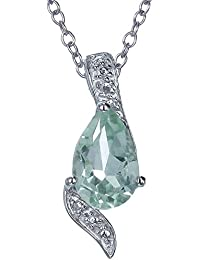 "Sterling Silver Green Amethyst Pendant (1.10 CT) With 18"" Chain"