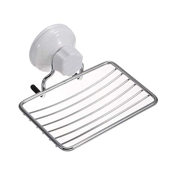 Foolzy Super Powerful Vacuum Suction Cup Shower Soap Dish - Strong Rustproof Stainless Steel Sponge Soap Holder for Bathroom & Kitchen Sink