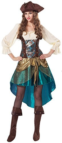 Damen Piratenprinzessin Kapitän Karibik Halloween Karneval TV Film Welttag Des Buches-tage-woche Kostüm Kleid Outfit UK (Kostüme Buches Des Welttag Uk)