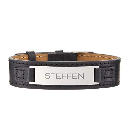 Gravado bracciale da uomo in pelle nera - targhetta in acciaio inox con incisione nome - chiusura fibbia regolabile - accessori