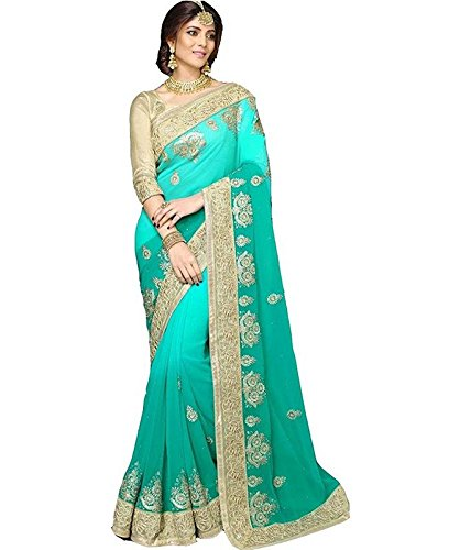 Saree Center Georgette Saree With Blouse Piece (Sc_13915_Green_Free Size)
