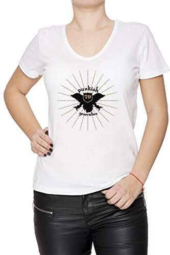 Punkish Generation Donna V-Collo T-shirt Bianco Cotone Maniche Corte White Women's V-neck T-shirt