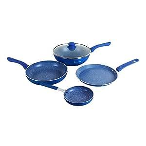 Wonderchef Royal Velvet Induction Base Aluminium Cookware Set with Free Mini Frying Pan, 1.5 Litres, 4-Pieces, Blue