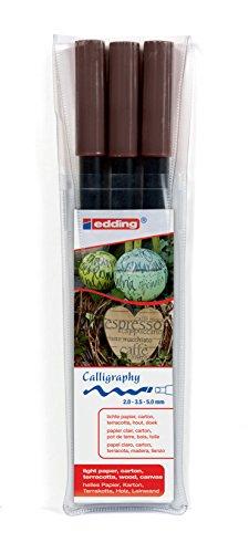 fie-Stift - Farbe: dunkelbraun 3x - Ideal für Kalligraphie und Lettering auf nahezu allen Oberflächen - Made in Germany ()