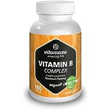 Complesso di Vitamina B ad alto dosaggio B1, B2, B3, B5, B6, B7, B9, B12 vegetale, confezione scorta per sei mesi. Prodotto di qualità tedesca senza stearato di magnesio, SODDISFATTI O