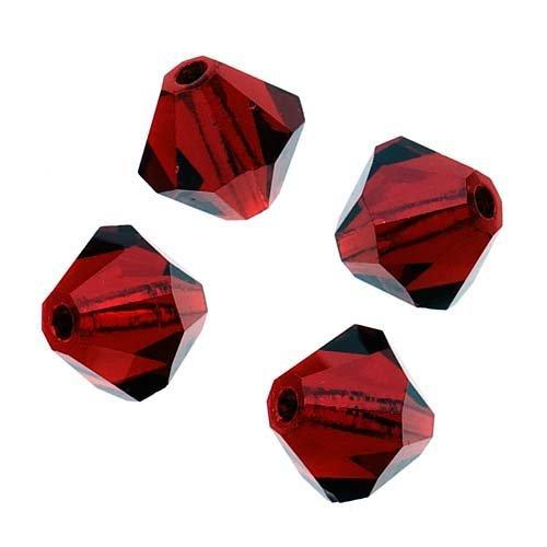 Bicone Siam (Tschechische Kristallglasperlen, 6mm Bicone