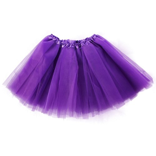 Imixcity Femme 12 Couleurs Pettiskirt Délastique Mini Robe 3-Couche Organza Jupe Violet