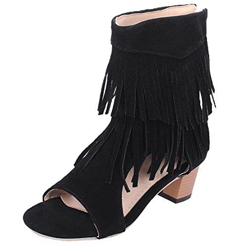 AIYOUMEI Damen Offen Blockabsatz Sandalen mit 5cm Absatz und Fransen Chunky Heel Sommer Stiefel (Stiefel Fransen Schuhe)