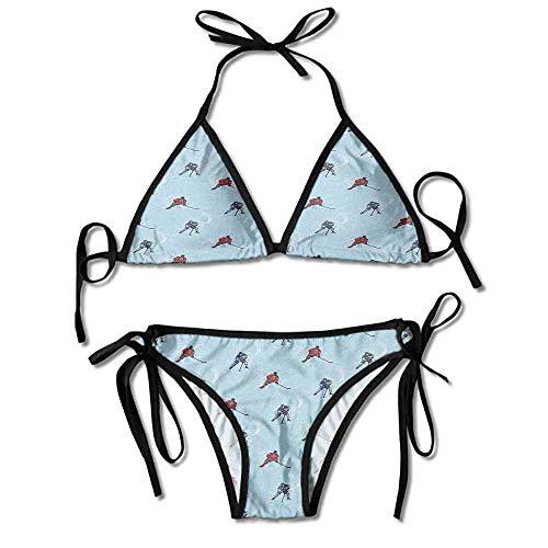 Bikini Women's 2 Pieces,Hockey Pattern Competitive Match Sexy Bikini 2 Pieces -
