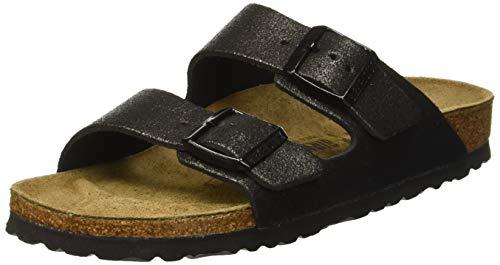 BIRKENSTOCK Damen Arizona Sandalen, Schwarz Washed Metallic Black, 38 EU -