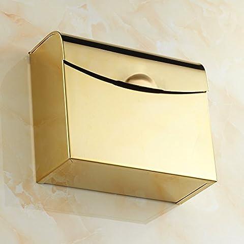 SBWYLT-Papelera de Cao, acero inoxidable baño impermeable cuadrado oro papel soporte higiénico portabandejas
