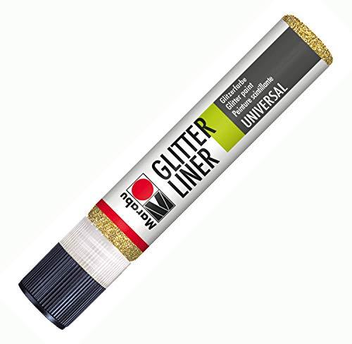 Marabu 18030009584 - Glitter Liner, Glitzer - Effektfarbe auf Wasserbasis für bezaubernde Glitzereffekte auf Stoff, Holz, Metall u.v.a., speichelecht, einfache Fixierung, 25 ml, glitzer gold