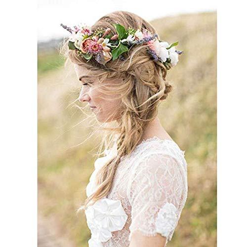 Simsly Boho Corona flores boda guirnalda diadema floral