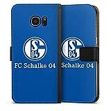 DeinDesign Tasche kompatibel mit Samsung Galaxy S7 Edge Leder Flip Case Ledertasche FC Schalke 04 Offizielles Lizenzprodukt Logo