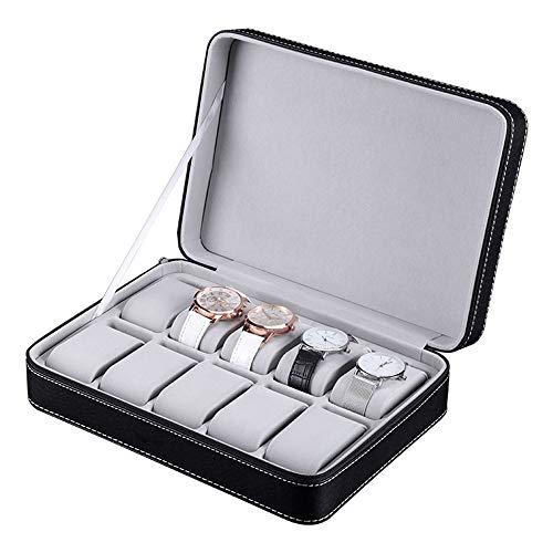 Watch storage box 10 Slot - Scatola di visualizzazione per Orologi in Pelle PU Nera con Scatola per Gioielli Portatile con Cerniera 11 × 7,7 Pollici