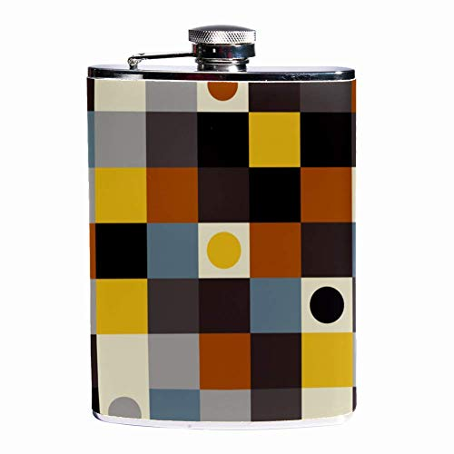 Rundafuwu Schnapsflasche, Leak Proof Liquor Hip Flask 7 oz Flagon Mug with Squares and Dots Pattern Print Pocket Container for Discrete Shot Drinking of Whiskey Alcohol Liquor -