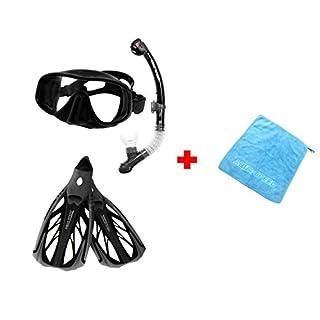 Aqua Speed SET Taucherbrille, Schnorchel, Flossen (AMATI+ULTRA+INOX) für Erwachsene Damen/Herren + kleines Microfaser Tuch, Farbe:Black-White;Größe:38/39