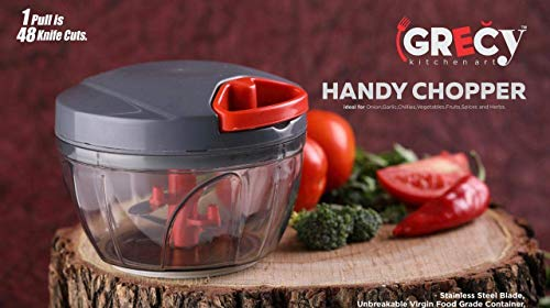 Kasturi's collection Manual Food Chopper, Compact & Powerful Hand Held Vegetable Chopper/Blender to Chop Fruits/Vegetables/Nuts/Herbs/Onions/Garlics for Salsa/Salad/Pesto/Coleslaw/Puree 500 ml Large Vegetable Chopper with 3 Blades, multi colour