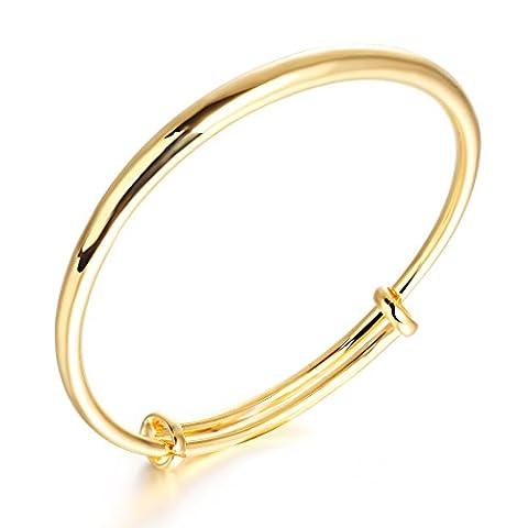 bigshopDE Damen Armreif 19cm verstallbar Armband 18K Gelbgold plattiert Schmuck