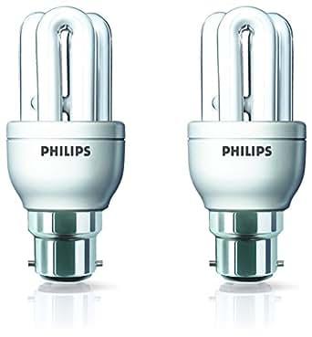 Philips Genie BC B22 8-Watt CFL (Warm White and Pack of 2)