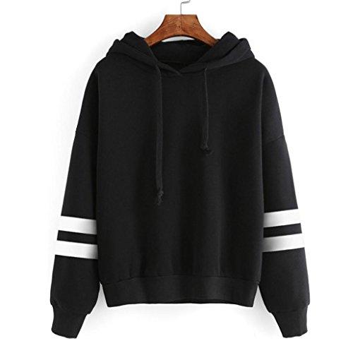 Tops Damen,Binggong Damen Langarm Hoodie Sweatshirt Lose Pullover mit Kapuze Pullover Plus Kaschmir Tops Solide weiße Streifen Bluse (Sexy schwarz, XL) (Langarm-kaschmir-pullover Crew)