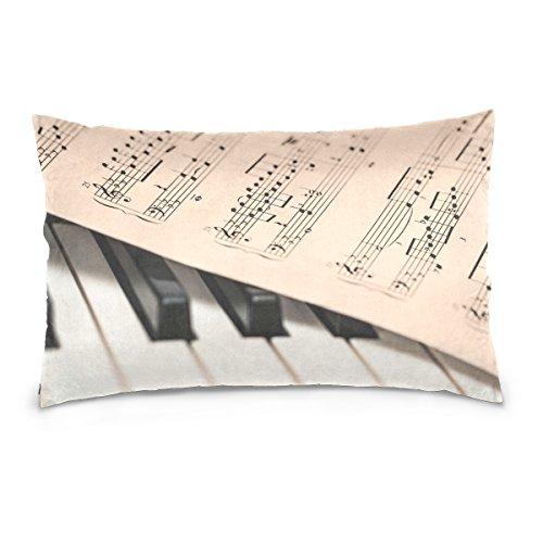Überwurf Kissen Bezüge Doppelseitig Music Score Tabelle Tastatur Klavier Schlüssel 40,6x 61cm Unsichtbar Reißverschluss Home Decor für Schlafcouch 20x36 inches Image 5260