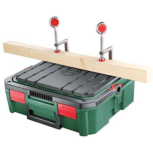 Bosch Workbox SystemBox mit integrierter Werkbank-Auflage (Größe S, Zubehör für Bosch Stichsäge PST 700, im Karton)
