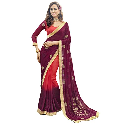 Triveni Georgette Pink Casual Wear Embroidered Traditional Sarees