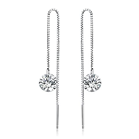 JiangXin Minimalist 925 Sterling Silver Halo Austrian Crystal Tassel Chain Hanging Earrings/Stud Earrings,Exquisite Hearts & Arrows Simulated Diamond 18K White Gold Plated Eternity