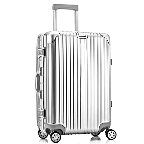 HUANGA Custodia per trolley da viaggio, custodia in pelle per password in alluminio da 24 pollici, valigia anticollisione di grande capacità - retrattile