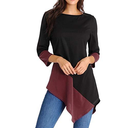 Geilisungren Bluse Damen Mode Farbblock Patchwork Langarmshirt Casual O-Ausschnitt 3/4 Arm Pullover Tops Frauen Herbst Sommer Asymmetrisch Saum Oberteile Oversized T-Shirt