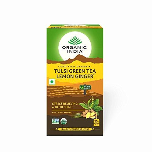 Organic India Tulsi Green Tea, Lemon Ginger – 25 Tea Bags