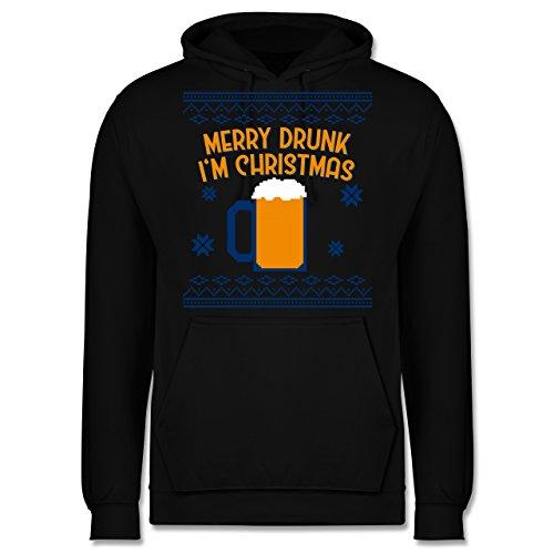 ter - Ugly Christmas Merry Drunk I'm Christmas - L - Schwarz - JH001 - Herren Hoodie ()