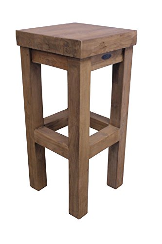 TEAK Barhocker SE27-3 Teakholz antik massiv 35x35x75cm Stuhl Möbel