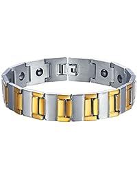 U7 Bracelet Homme Acier avec Pierre d Aimant Inséré Plaqué Or Jaune Métal  Noir feb8fb15231a
