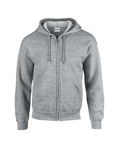 Full Zip Sweat (Gildan: Heavyweight Full Zip Hooded Sweat 18600, Größe:M;Farbe:Sport Grey)