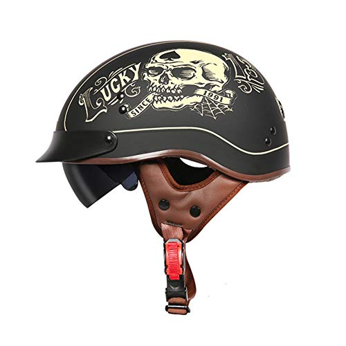 TORC Matt Black DOT Motorrad Half Helm mit Drop Visier für Cruiser Chopper Biker Lucky Skull,M55~56cm